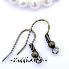 SteamPunk /Bronze: Earhooks, örhängeskrok 1 par
