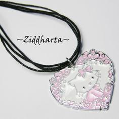 "Necklace 3-strands ""Pink Hello Kitty Pajamas"" Flower Heart Enamel Pendant - Handmade Jewelry and Beadings by Ziddharta"