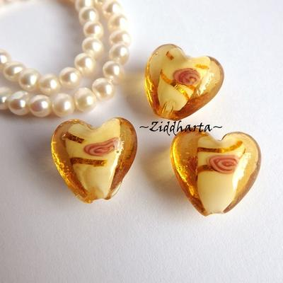 1st LampWork GoldFoil Stripe: 17mm Hjärta GOLD