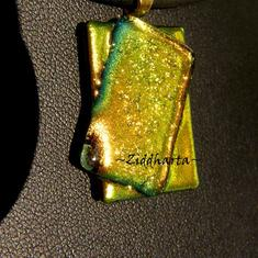 """114 Glassfused Dichroic """"GoldenCopperLime"""" Necklace OOAK Unique! Handmade beaded Jewelry and Beading by Ziddharta"""