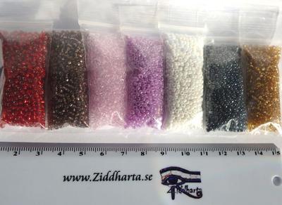 #18 REA: Seedbeads-MIX 7st olika färger: Paket #18 Ruby Lilac Pink Lavendel mm