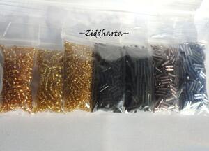Seedbeads-MIX 7st olika färger: Paket #19 Gold Black Lilac Sapphire