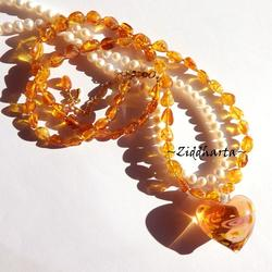 Honey Amber Necklace One of A Kind Necklace Heart LampWork Amber Necklace Amber /Rav /Bärnsten Necklace - Handmade Jewelry by Ziddharta