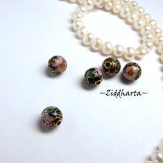 1 Cloisonné pärla: 8mm Svart Kula #41