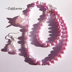 SÅLD! Set Halsband & örhängen: PINK Glass Heart w White AngelWings Swarovski Crystals - Amethyst ABx2