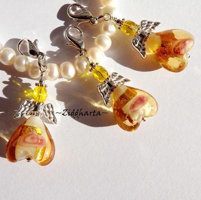 1st Ängla-hänge Smyckes pyssel KIT: GOLD / Amber GULD GoldFoil Heart - LampWork Hjärta & hjärtelås