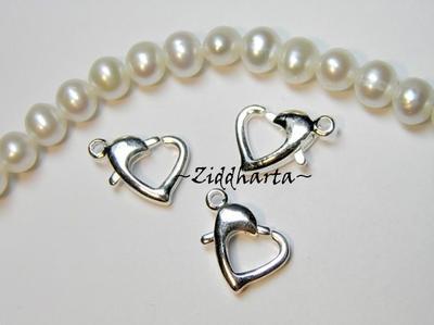 1st Ängla-hänge Smyckes pyssel KIT: SF BLACK Silver Foil Heart - LampWork Hjärta & hjärtelås