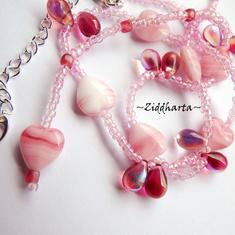Necklace Fuchsia Pink Hearts & Glass Drops - Handmade Jewelry and Beadings by Ziddharta