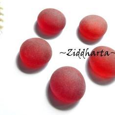 1-3-5st Glas-cabbar: RED Frost RÖDA - Cabochoner av glas för dekor, pyssel och pärlsömnad