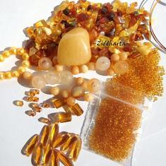Pärlor, kristaller & Halvädelsten Kit: Amber, Jade, Quartz & Swarovski Crystals