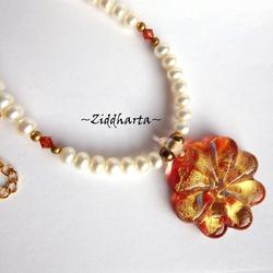 #24 Set Necklace Earrings LampWork Necklace Red Gold Flower Necklace Freshwater Pearls & Swarovski Necklace - Handmade Jewelry by Ziddharta
