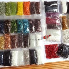 REA: Utförsäljning: Glaspärlor: Seedbeads MIX massor av färger! Pärlpaket nästan ½ kg PÄRLOR!