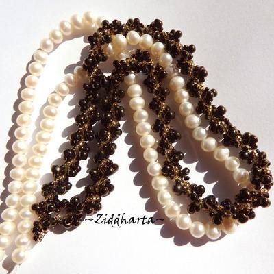 Bronze n Gold Necklace Spiral Glass Drops Necklace DNA-spiral Necklace Miyuki Seed Beads Necklaces - Handmade Jewelry by Ziddharta