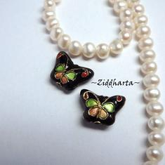 1 Cloisonné pärla: Svart Fjäril / Butterfly till hänge #38