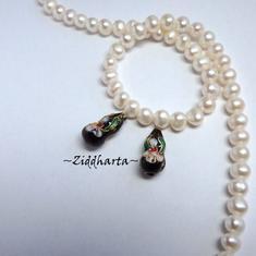 1 Cloisonné pärla: Svart Kurvig Vas till hänge #37