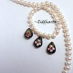 1 Cloisonné pärla: Svart Droppe till hänge #35