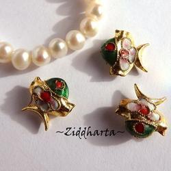 1 Cloisonné pärla: Goldfish, Guldfisk #43