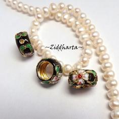 1 Cloisonné pärla: Svart Ring till hänge #34