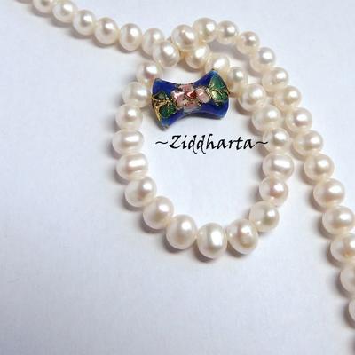 1 Cloisonné pärla: BLÅ Rosett #32