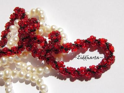 #21 Love Red Sewn Spiral Rope Necklace - Red Black Necklace Sewn Seed Bead Necklace Love Red DNA-spiral Necklace - Handmade Jewelry by Ziddharta