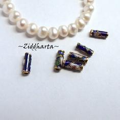 1 Cloisonné pärla: BLÅ 10mm Tub / tube #29