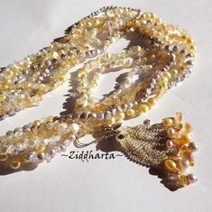 Citrine Gemstone Necklace and earrings Citrine necklace Freshwater pearls Necklace 7-strands Necklace - Handmade Jewelry by Ziddharta
