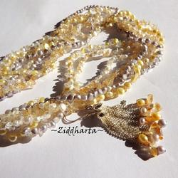 Citrine Gemstone Necklace and earrings Citrine necklace Freshwater pearls Necklace 7-strands Necklace - Handmade Jewelry by Ziddharta