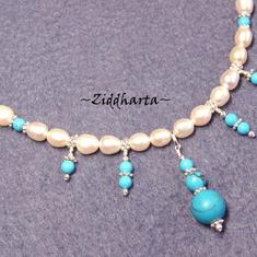 "SET Necklace & Earrings ""Turquoise Fringes"" - Handmade Jewelry and Beadings by Ziddharta"
