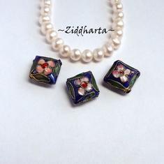 1 Cloisonné pärla: BLÅ Romb till hänge #20