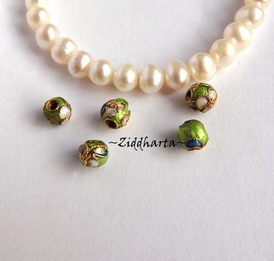 1 Cloisonné pärla: GREEN 5mm Kula #14