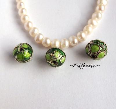 1 Cloisonné pärla: GREEN 10mm Kula till hänge #13