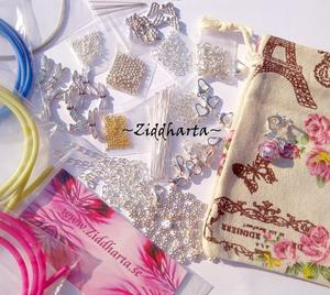 PARIS-påse! Goodie bag: Silverpläterade ca600st (!) Smyckesdelar i metall + Ängel Smyckestillverkning