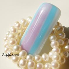 56 Glasfusad Cabochon ca 40x19mm - LavendelTurquoise