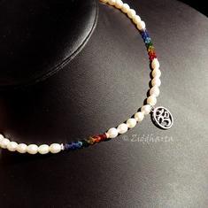 "Necklace /halsband ""Yoga"" Chakran in Swarovski Crystals - High Quality White Freshwaterpearls  Handmade Jewelry and Beadings by Ziddharta"