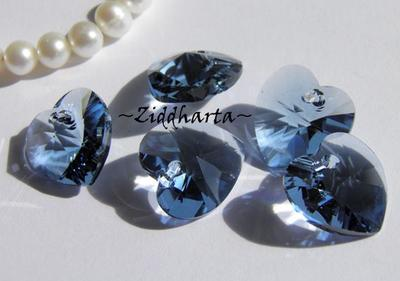 Swarovski 14mm HJÄRTA - Denim Blue