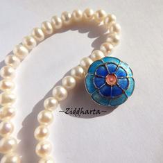 1 Cloisonné pärla: Turquoise Turkos Blomma Flower #50