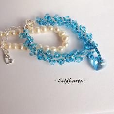"#35 Two BRACELETs in One ""AquaBlue Sarovski Heart"" Bracelet Sky Blue Bracelet Swarovski Heart Bracelet - Handmade Jewelry by Ziddharta"