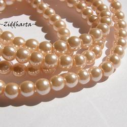 8mm Pearlecent Glaspärlor - 5st Peach / Aprikos