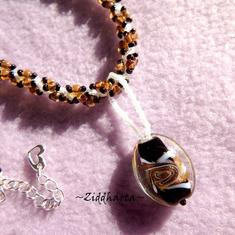 Leppard Necklace Goldsand Topaz Necklace Swirl Wild Life Necklace LampWork Necklace Handsewn Helix DNA-rope Necklace - Handmade by Ziddis
