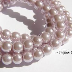 8mm Pearlecent Glaspärlor - 5st Lavendel / Syren Lila