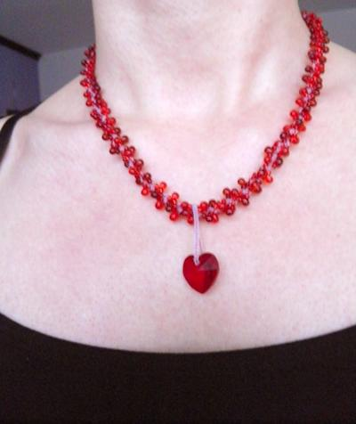 "#36 Two necklaces in One ""Love Red Sarovski Heart"" Necklace Swirl Spiral White cord Swarovski Heart Necklace - Handmade Jewelry by Ziddharta"