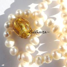 1st LampWork pärla: Oval Antique GOLD SilverFoil - 7957