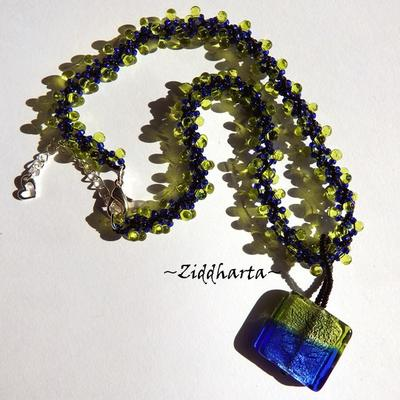 Peridot color Necklace Electric Blue Necklace SilverFoil Necklace LampWork Pendant Necklace Helix DNA-rope Necklace - Handmade by Ziddharta