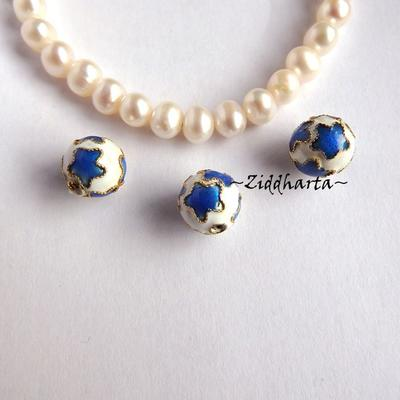 """1 Cloisonné pärla: VITA 10mm """"StjärnKula"""" till hänge #02"""