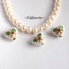 1 Cloisonné pärla: VITA Hjärta till hänge #01