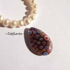 Millefiori glaspärla: Hänge - Dk Ametistfärgad Stor Platt Oval Droppe - Toppborrad #15