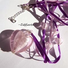 Necklace /Halsband: Big PINK SilverFoil LampWork HEARTS silk ribbons - Handmade Jewelry and Beadings by Ziddharta