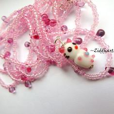 "3-strands Necklace ""Cute Kitten"" Fuchsia Pink Hearts & Glass Drops - Handmade Jewelry and Beadings by Ziddharta"