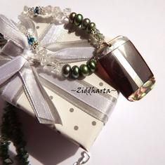 Rare PAUA Necklace Rectangular Pendant Necklace Emerald Green Freshwater Pearls Swarovski Dk Green Aventurine Crystal Quartz Necklace