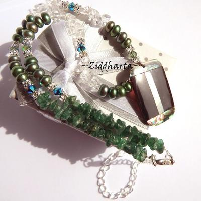 Rare PAUA Necklace Rectangular Pendant Necklace Emerald Green Freshwater Pearls Swarovski Dk Green Aventurine Crystal Quartz Necklace